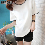 Girl Casual Loose T Shirt Black White Solid Color Short Basic Tops & Tees Female T-Shirt M-2XL Large Size Girls Gifts