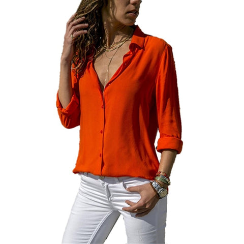 Lossky Women Tops Blouses  Autumn Elegant Long Sleeve Solid V-Neck Chiffon Blouse Female Work Wear Shirts Blouse Plus Size