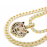 Luxury Gold Necklace & Tiger Head Pendant Combo Set Ice Out Miami Cuban Choker Tennis Chain Rapper Jewelry Set For Men