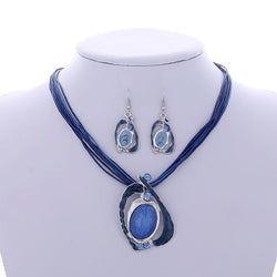 MINHIN Charming Blue Pendant Jewelry Sets For Women Classic Wholesale 2 Pcs Wedding Jewelry Sets African Beads Accessory