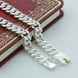 Men 10MM Sideways Bracelet 925 Silver Color Fashion Jewelry For Male Square Buckle Bracelet
