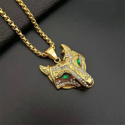 Men Stainless Steel Necklace Gold Color Viking Wolf Head Necklace Pendant With Chain Iced Out Norse Talisman Ethnic Jewelry
