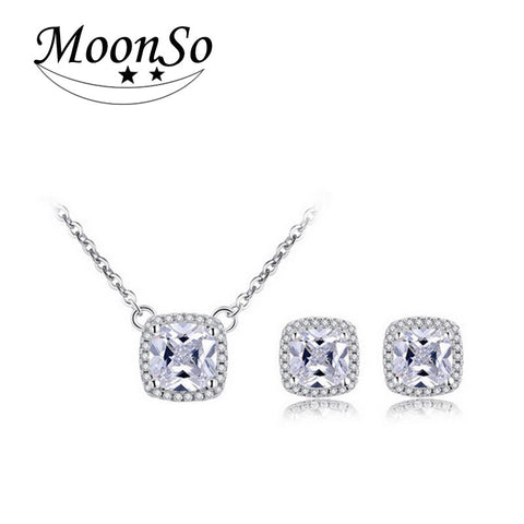 Moonso 925 Sterling Silver Jewelry for women wedding Austrian Crystal Stud Earrings and  Necklace christmas gifts jewelry  J1101