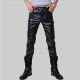NEW fashion mens slim fit Black leather pants men skinny dance  PU leather motorcycle Driving trousers plus size 28-37