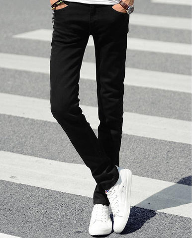 NEW indoor Business Man Black white Jeans Cotton Thin Students Straight Leisure Stretch Skinny Pants Denim Overalls Men