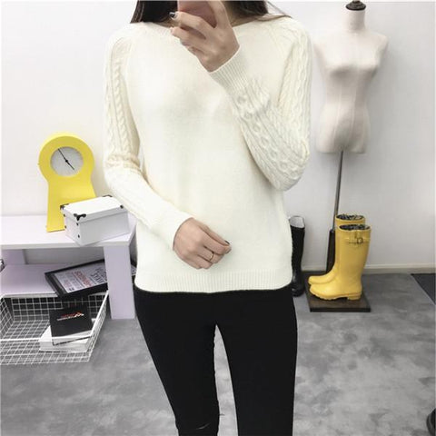 Women O neck Pullover Sweater 2018 Autumn Winter Korean New Solid Basic Knitted Sweater Female Fashion Wild Knitwear66205 - Markand Design
