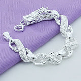 New Trendy 925 Sterling Silver White Chinese Dragon Chain Bracelets For Men Fashion Jewelry Pulseira Male