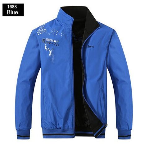 Spring autumn new men`s WindBreaker Both Side Wear Thin Bomber Jacket fashion winter male sporting black coat size L~5XL