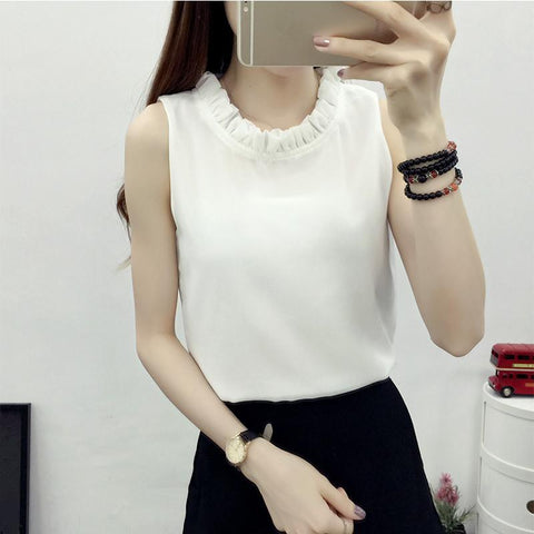 New Arrival  Summer Fashion Solid Sleeveless Women Shirt Chiffon Blouses  Ruffles O-Neck Blusa in 6 Colors
