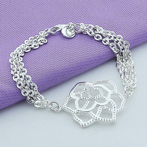 New Arrival 925 Sterling Silver Bracelet Fashion Elegant Flower Charm Bracelet For Women Jewelry Top Quality