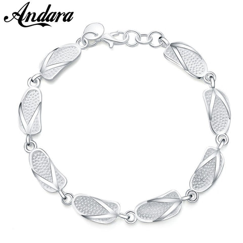 New Fashion 925 Sterling Silver Bracelet Cute Shoes Bracelet for Woman Jewelry Gift
