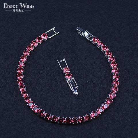 New Fashion Royal Tennis Bracelet For Women Silver Color Big Cubic Zirconia Rose Red Stone Connected Party Charm Jewelry