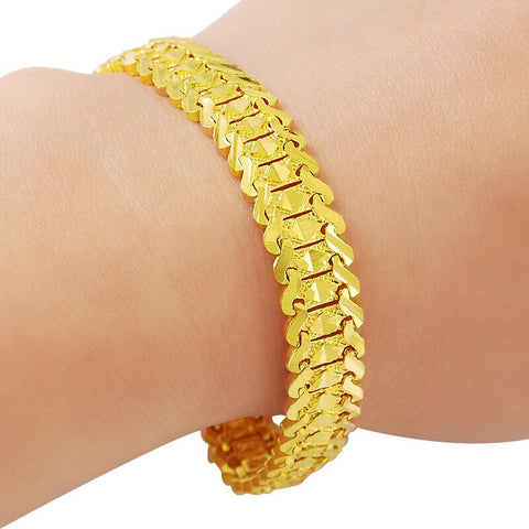 New Real 24K Gold Filled Bracelet for Women High Quality Star Chain Bracelet Bangles Wedding Party Gift