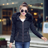 New Women Winter Jackets And Coats short section Parka Thick Warm Faux Fur Collar Hooded cotton coat loose big size cotton coat