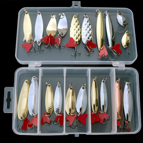 Outdoor 20pcs/set Mixed Colors Fishing Lures Spoon Bait Metal Lure Kit Hard Bait Fresh Water Bass Pike Bait