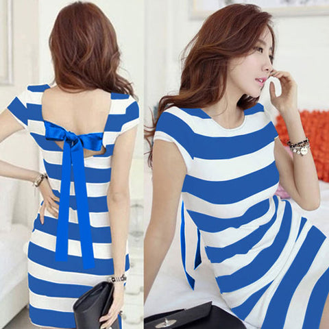 Plus Size Women K-pop Dress Korean Cut Out Tie Bow Backless Short Sleeve Striped Summer Dress Mini Bandage Sexy Casual Dress
