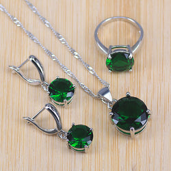 Risenj Round Top Cubic Zircon Green Stone  Silver Color Earrings Rings Necklace Pendant Set For Women pretty Gift