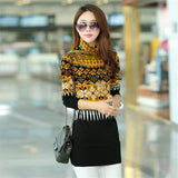 S-3XL Autumn Winter New Fashion Turtleneck Women Sweaters Korean Style Geometric Pullovers Clothes Long Sleeve Sweater