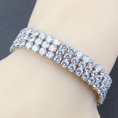 Silver 925 AAA+ Quality Red Garnet Bridal Jewelry Link Chain Bracelet Length 19.5CM 5-Color For Women Wedding Decoration