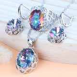 Silver 925 Bridal Jewelry Sets Rainbow Cubic Zirconia For Womem Wedding Costume Necklace Sets Ring Earrings Pendant Bracelet