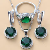Silver 925 Trendy Jewelry Sets Round Green Cubic Zirconia Necklaces Pendants Earrings And Ring 3 Piece Sets For Women Costume
