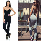 Summer Women Spaghetti Strap  Jumpsuit Sport Fitness Sets Backless Solid Color Skinny Suits Athletic Clothes