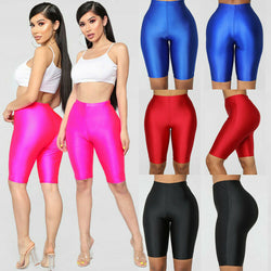 Summer Women Sports High Waist Elastic Running Shorts Gym Biker Active Short Pants Female Seamless Tight Solid Fitness Shorts