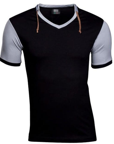 Short Sleeve Cotton  Collar Harness Stitching T-shirt Design - Markand Design