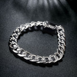 Top Quality Men 10mm 20cm Chain Bracelet 925 Silver Jewelry Hip Hop Bracelet For Male Trendy Jewelry