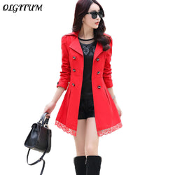 Trench Coat For Women Spring Coat Double Breasted Lace Slim windbreaker Female Autumn Outerwear long section Trench coat