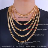 Brand Jewelry Sets Men's Fashion Jewelry Sale Trendy Gold Color 7MM Wide Chain Bracelet Necklace Set