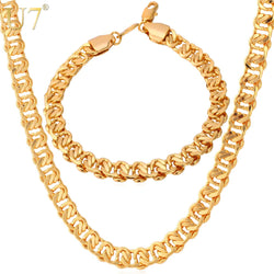 Men Jewelry  Trendy Gold Color 8 MM Chain Necklace Bracelet Jewelry Set
