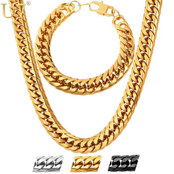 Stainless Steel statement Necklace And Bracelet Set Wholesale Gold Color Hip Hop Chunky Big Chain For Men Jewelry Set