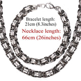 Two Tone Gold Color Men Chain Flat Byzantine Stainless Steel Necklace/Bracelet Sets Men Chunky Motorcycle Jewelry