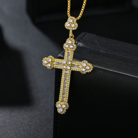 Unique Luxury Jewelry Gold Silver Cross Pendant Hip Hop Princess AAA+ Cubic Zirconia CZ Party for Men Women Wedding Necklace