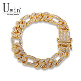 Uwin Figaro Link Bracelet 13mm Cuban Iced Out Rhinestones Fashion Hip Hop Punk Style Gold Silver Men Women Jewelry