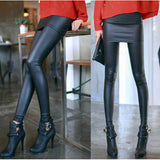 New Fashion Leather Skirt Leggings Women's Sexy Pencil Pants Autumn Footless Leggings With Skirts Black Casual Wear