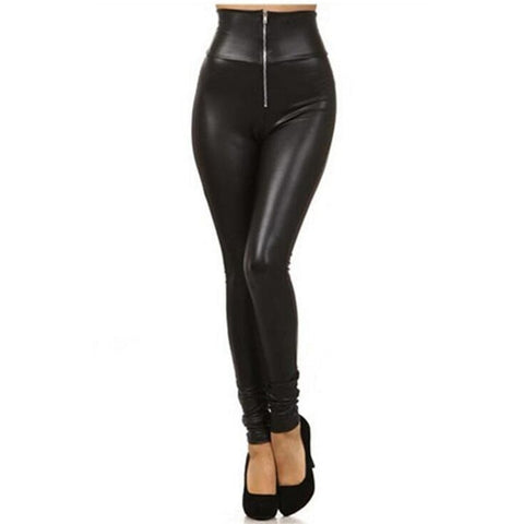 Spring PU Leather Legging For Women High Waist Leggings With Zip  Solid Black Streetpants Skinny Pants