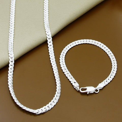 Wholesale Price 6MM Full Sideways Necklace Bracelet Sets 925 Silver Jewelry Sets For Woman Men Top Quality