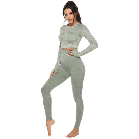 Women 2pcs Seamless Yoga Set Fitness Sports Suits Woman Push Up Leggings Long Sleeve Top High Waist Sport Leggings Gym Clothes