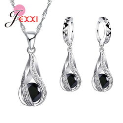 Women Amazing 925 Sterling Silver Jewelry Colorful Crystals Jewelry Sets Water Wave Necklace Pendant Hoop Earrings Big Promotion