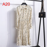 Women Casual Autumn Dress Lady Korean Style Vintage Floral Printed Chiffon Shirt Dress Winter Long Sleeve Bow Midi Dress Vestido
