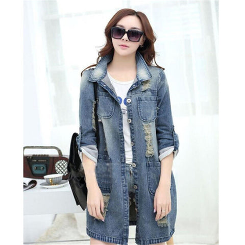 Women Spring Summer Jeans Jacket Casual Woman Clothes Full Sleeve Plus Size Long Cardigan Jackets Coat Fashion Women