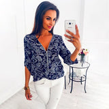 Women's Casual Printed Half Sleeve Shirt 2020 Spring Summer Hot Women's V-Neck Zipper Slim Top