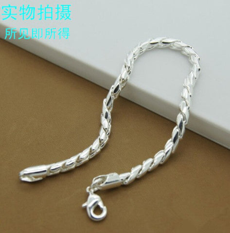 Women's & Men's Fashion 925 Sterling Silver 6 MM Charm Chain Bracelets and Bracelets 925 Sterling Silver Jewelry Gifts