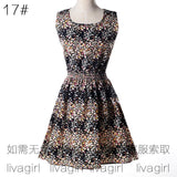 Women summer dress new fashion Floral print chiffon sleeveless cheap Summer dress plus Size Sleeveless Vestidos