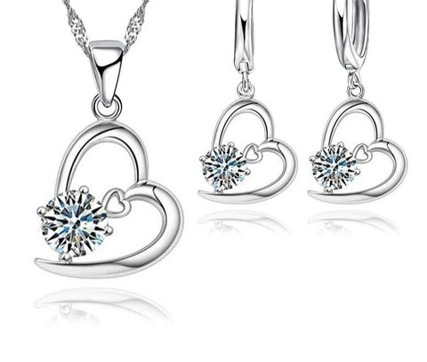 Hot 925 Sterling Silver Bridal Wedding Jewelry Set For Women Heart CZ Crystal  Engagement Necklaces Earring Accessory