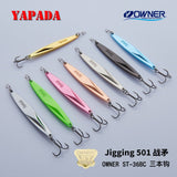 YAPADA Jigging 501 WarSpear OWNER Treble Hook +Feather 20g/91mm 25g/98mm Fishing Bass Lures Multicolor Metal Zinc alloy