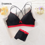 Hot underwear set thin female small wireless bra push up cup tube top comfortable lace sexy bra set