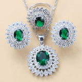luxurious Dubai Bridal Silver 925 Brial Jewelry Sets Green Cubic Zircon Sunflower Earrings Necklace Bracelet And Ring Sets